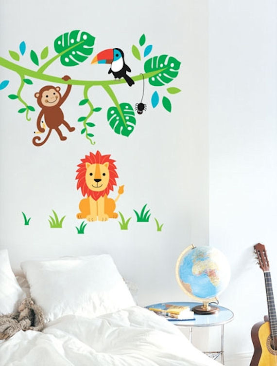 Jungle Wall Decor Stickers : Jungle wall stickers grasscloth wallpaper