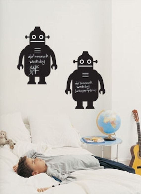 Robot  Peel and Stick Chalkboard SALE - Wall Sticker Outlet