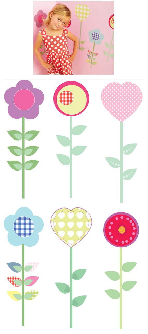 Fun To See Polly Patch Flowers Wall Stickers - Kids Wall Decor Store