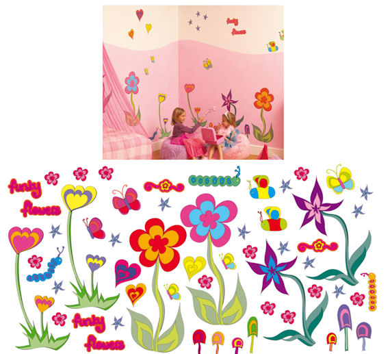 Fun To See Funky Flowers Complete Room Kit   Wall Sticker Outlet Part 17