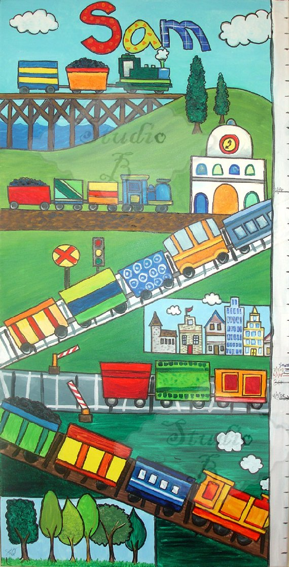 All Aboard Growth Chart - Kids Wall Decor Store