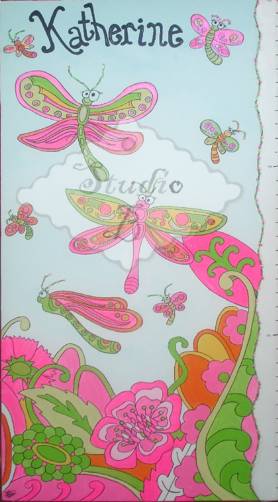 Dragonfly Fly Away Growth Chart - Wall Sticker Outlet