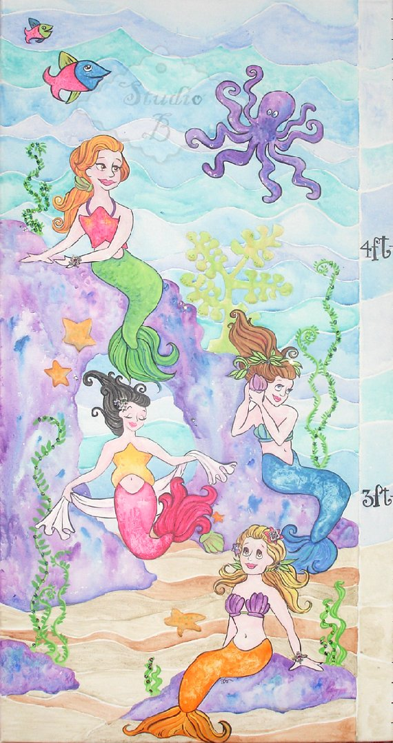Mermaid Fairy Tail Growth Chart - Kids Wall Decor Store