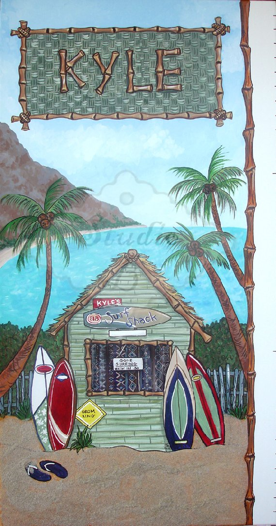 Surf Shack Growth Chart - Kids Wall Decor Store