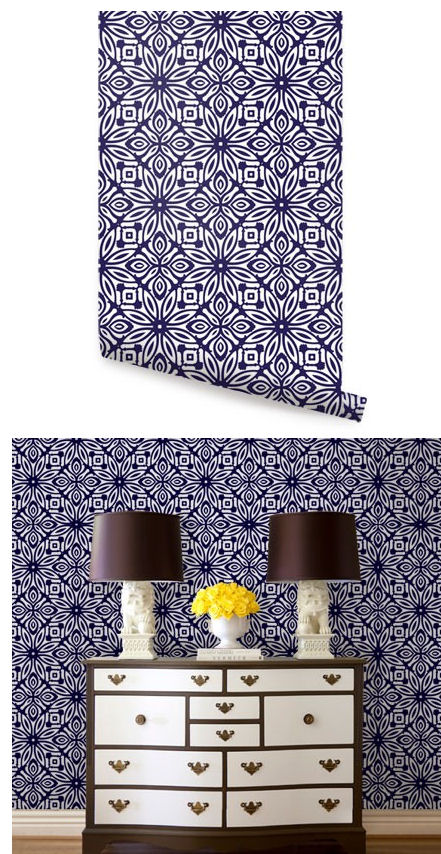 Geo Flowers Navy Peel And Stick Wallpaper