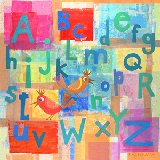 Alphabet with Kooky Birds Canvas Wall Art
