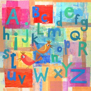 Alphabet with Kooky Birds Canvas Wall Art - Wall Sticker Outlet