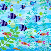Friendly Fish Party Canvas Wall Art