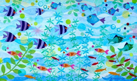Friendly Fish Party Canvas Wall Art - Wall Sticker Outlet