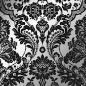 Gothic Damask Flock Black and Silver Wallpaper