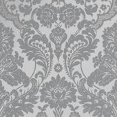 Gothic Damask Flock Grey and Silver Wallpaper