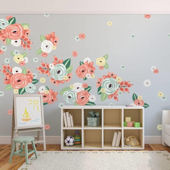Urbanwalls Coral and Teal Graphic Flower Decals