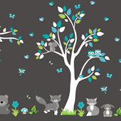 Grey Teddy Bear Forest Wall Decals