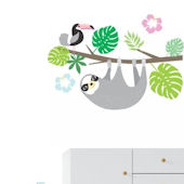 Hanging Sloth and Toucan Tree Wall Decals