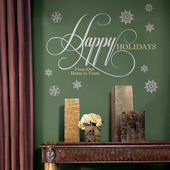 Happy Holidays Glitter Quote Wall Decal