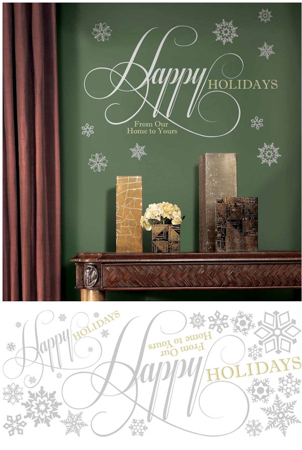 Happy Holidays Glitter Quote Wall Decal  - Wall Sticker Outlet