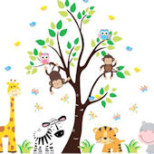 Happy Hippo Jungle Animal Tree Wall Decals