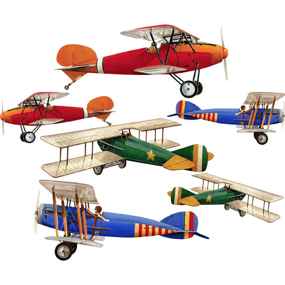 6 Large Airplane Peel and Stick Decals - Wall Sticker Outlet