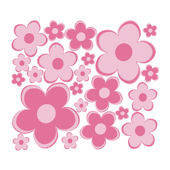 Pink Fun Flowers Small Retro Flowers Wall Decals