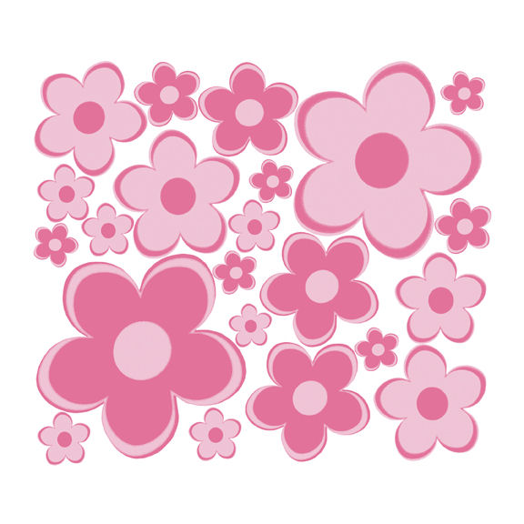 pink fun flowers small retro flowers wall decals pink flower wall stickers living room bedroom wall art decals