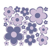 Purple Fun Flowers Small Retro Flowers Wall Decals