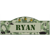 Personalized Military Name Sign Green Camo