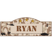 Personalized Military Name Sign Desert Brown Camo