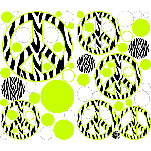 Zebra Stripe Peace Signs Green Decals - Zebra stripe wall decals