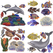 Underwater Tropical Fish 2 Peel and Stick Decals