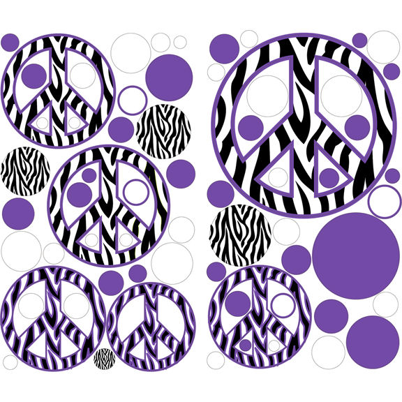 Zebra Stripe Peace Signs Purple Decals - Wall Sticker Outlet