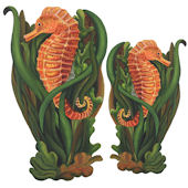 Seahorse with Plants Peel and Stick Wall Decal