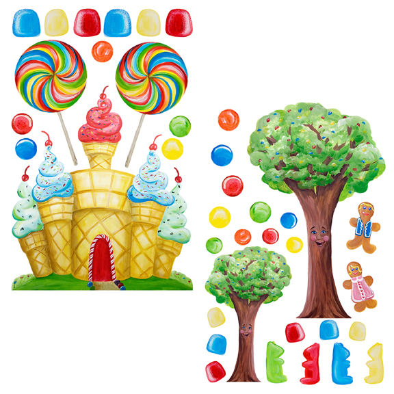 Candyland set peel and stick wall decals for Candy wall mural