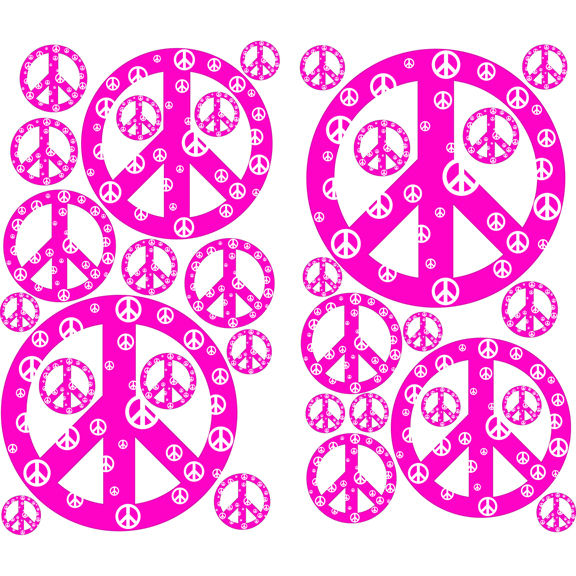 Pink and White Peace Signs Peel and Stick Decals - Wall Sticker Outlet