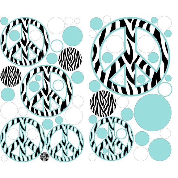 blue zebra peace signs dots peel and stick decals