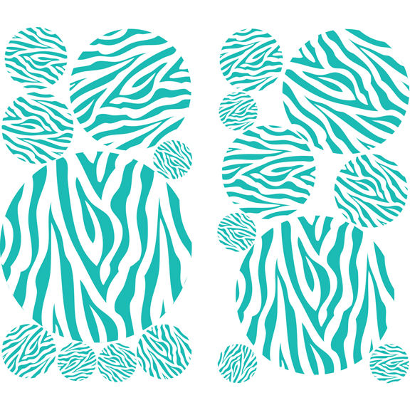 Teal Zebra Striped Peel And Stick Dots
