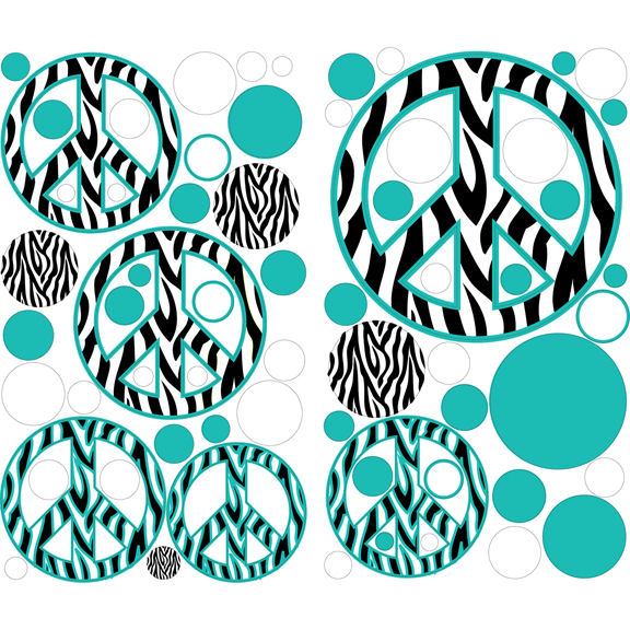 Teal Zebra Striped Peace Signs Peel And Stick Dots