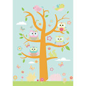 Whimsical Owl Family and Critters Pink Decals SALE