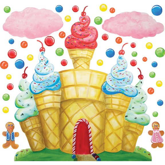 gallery for gt candyland wallpaper border instant murals candyland tree amp castle wall mural stickers