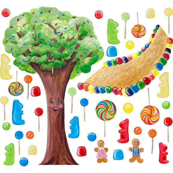 Cotton candy land whimsical tree wall sticker for Candyland wall mural