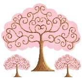 Sherri Blum Pink and Brown Grow Tree Wall Sticker