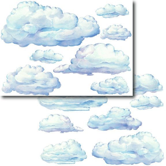 Large set clouds peel and stick wall stickers kids wall for Clouds wall mural