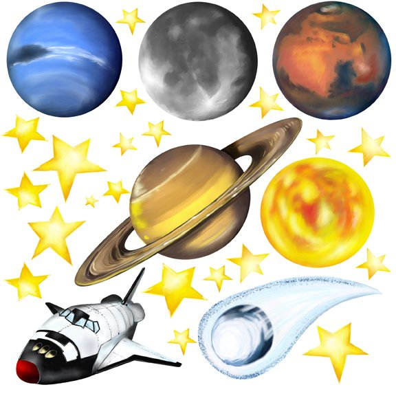 Outerspace Planets and Stars Wall Mural Stickers