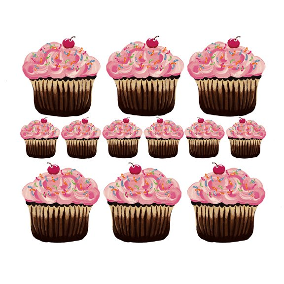 Sherri blum small pink cupcake wall stickers for Cupcake wall art