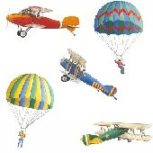 Airplanes and Parachutes Wall Transfer Stickers