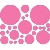 25 Bright Pink Polka Dot Wall Transfer Stickers