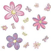 15 Butterfly and Flowers  Wall Transfer Stickers
