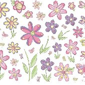 Butterfly and Flowers Mural Wall Transfer Stickers