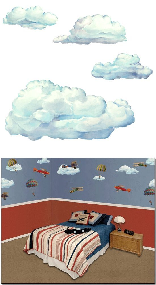 10 Cloud Wall Transfer Stickers - Wall Sticker Outlet