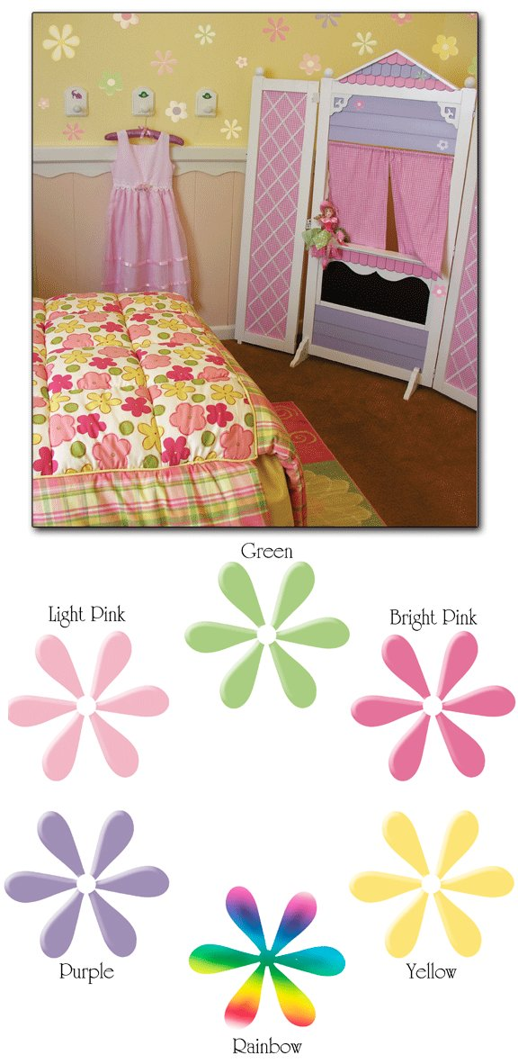20 Daisies Wall Transfer Stickers Mulitple Colors - Wall Sticker Outlet