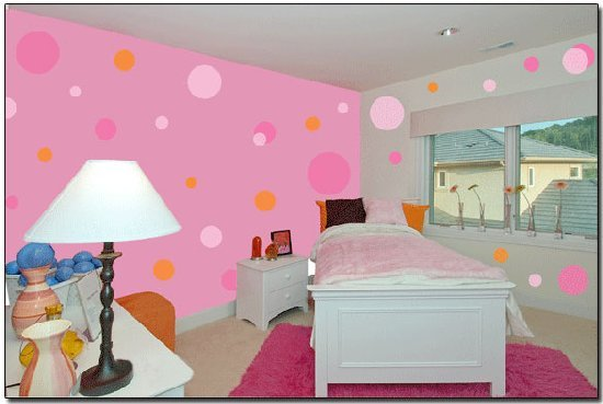 67 pink light pink jumbo dot wall transfer sticker
